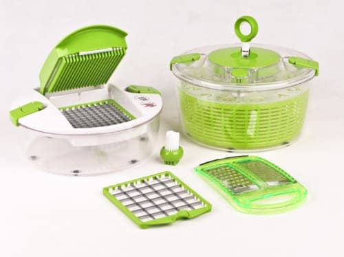 salad chef deluxe 12 piece vegetable spinner nicer dicer slicer. Black Bedroom Furniture Sets. Home Design Ideas
